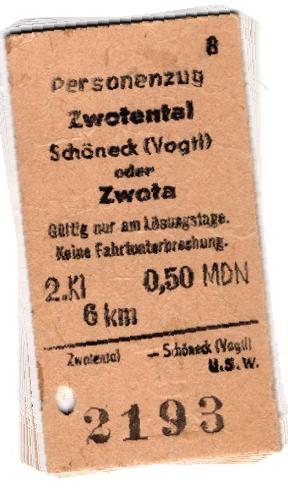 Historische Bahnfahrkarte Zwotental