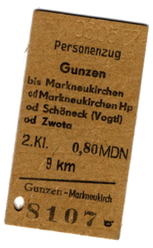 Historische Bahnfahrkarte Gunzen